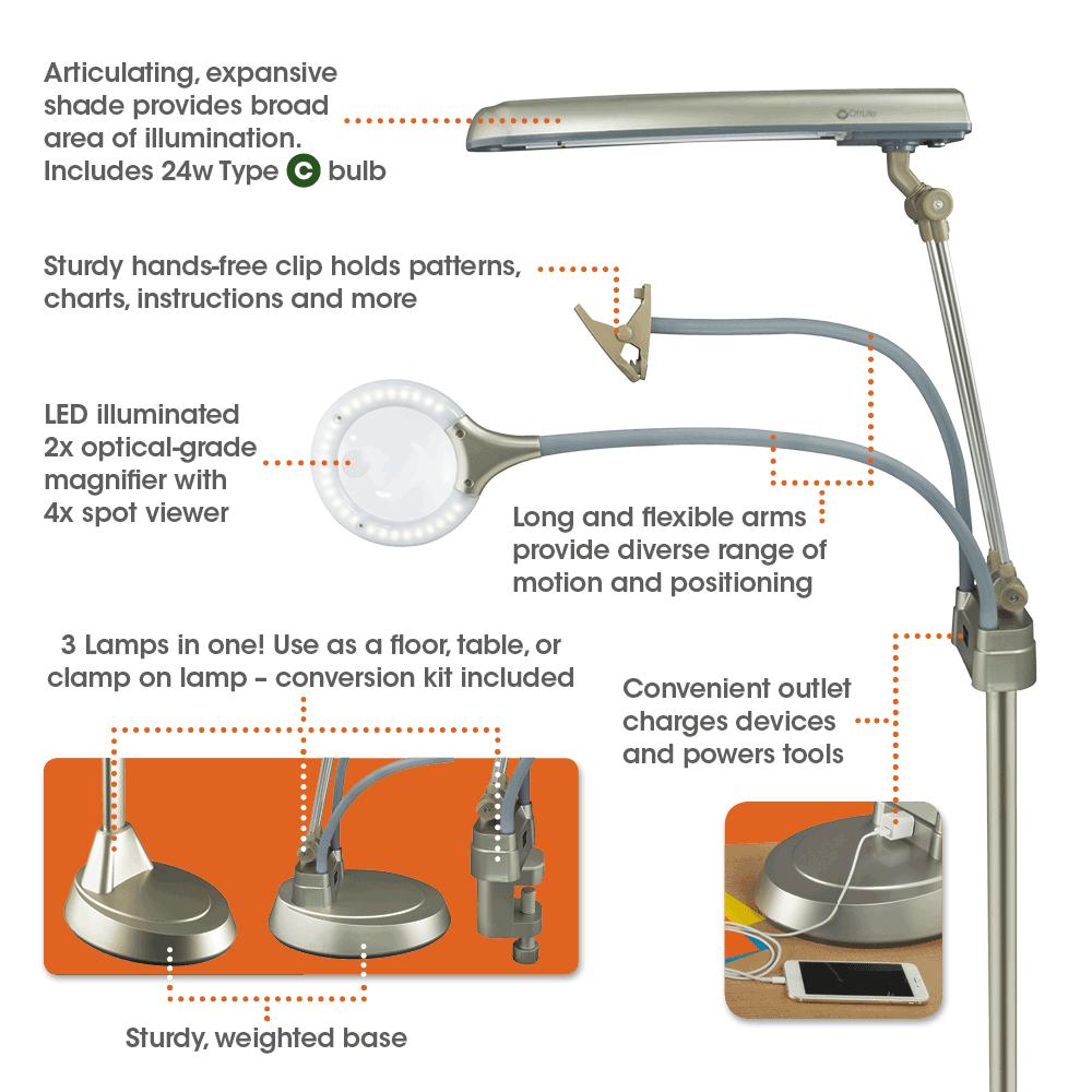 Ottlite Ultimate 3 In 1 Craft Floor Lamp Craft Lamp Craft Table Lamp Magnifying Craft Lamp