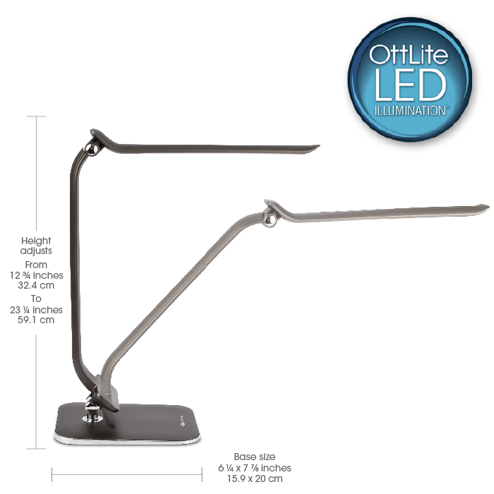 OttLite Extended Reach LED Desk Lamp | 7 Brightness Settings ...