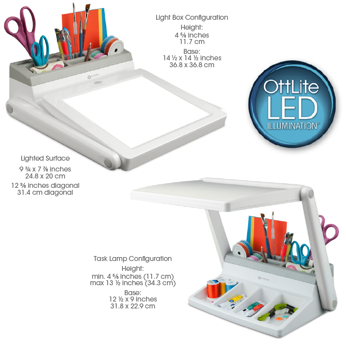 Product InstructionsOttLite   LED Light Box and Task Lamp Station   For All Artists. Ott Light Floor Lamp With Tray. Home Design Ideas