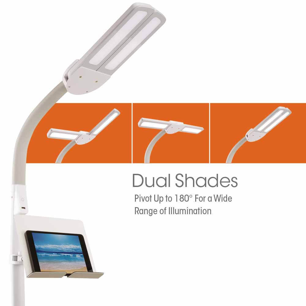 Ottlite Dual Shade Led Floor Lamp With Usb Charging