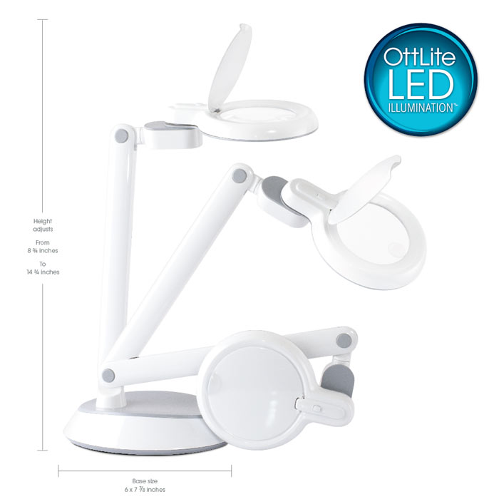Ottlite Space Saving Led Magnifier Desk Lamp Magnifier